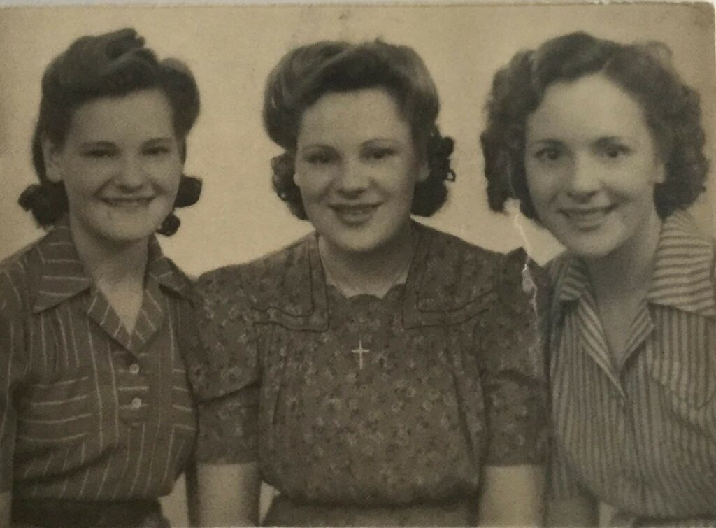 Edna Kitchen, Margaret Kitchen and Lilian Kitchen, three sisters in the WLA, July 1944